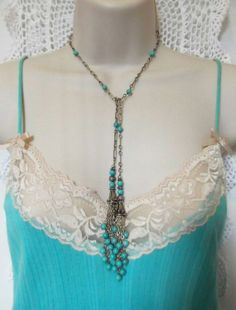 For April Challenge, Sterling Silver & Turquoise Lariat Necklace by MockiDesigns, $149.00 by candy