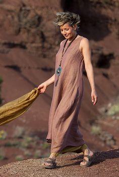 Tunique en voile de lin et sarouel jupe en soie-:- AMALTHEE CREATIONS-:- n° 3353 Bellissimo!