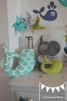 Décoration Chambre Enfant Bébé Garçon Vert Anis Turquoise Blanc Gris - Chambre enfant bleu et vert