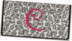 Personalized Checkbook Cover Monogrammed Black by rabbitholeonline, $6.96