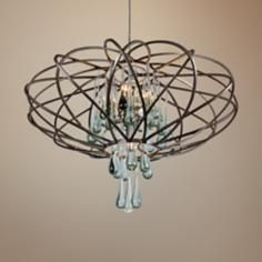"""Varaluz 24"""" Wide Area 51 Recycled Glass Pendant Light"""
