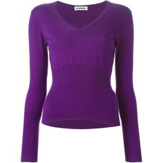 Jil Sander Vintage V-Neck Sweater (3,025 MXN) ❤ liked on Polyvore featuring tops, sweaters, vneck sweater, long sleeve v neck sweater, vintage v neck sweater, purple cashmere sweater and cashmere v neck sweaters