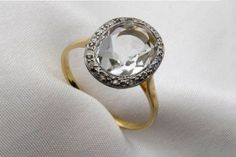Engagement Rings - Beautiful Cool Antique Pretty Styles - Isadoras Art Deco Quartz & Diamond Ring, $1,500, available at Isadoras.