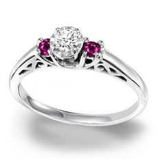 Cambridge Sterling Silver 1/6ct TDW Diamond and Ruby Ring - Overstock™ Shopping - Top Rated Cambridge Diamond Rings