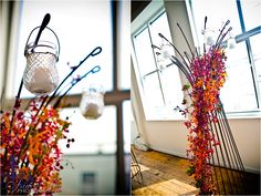 Wedding decor / orange purple flower / beautiful and little details