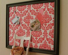 Damask Memo Board x Black Red White Office Decor Dorm Room Upholstered Pin Board Fabric Memo Boards, Cork Boards, White Office Decor, Red Office, Diy Rangement, Home And Deco, My New Room, Dorm Decorations, Classroom Decor