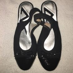 """Anne Klein Wedge Sling Back Shoes Thus pair of Anne Klein Spirt Slingback Wedges are super comfortable. Wedge us about an 1.5"""" (they some instant tanner marks on the inside shown in one of the pictures) Anne Klein Shoes Wedges"""