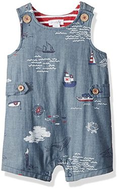 56c3b1686 Amazing offer on Mud Pie Baby Boys Nautical Sleevless Chambray One Piece  Shortall Playwear online