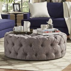 Found it at Wayfair - Carthusia Round Tufted Cocktail Ottoman Furniture Outlet, Discount Furniture, Cool Furniture, Living Room Tv, Living Room Furniture, Round Tufted Ottoman, Cocktail Ottoman, French Interior, Leather Furniture