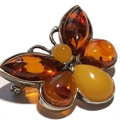 amberbutterfly Old Jewelry, Vintage Jewelry, Photographing Jewelry, Vintage Brooches, 1930s, 3 D, Amber, Butterfly, Sterling Silver