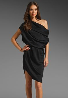HALSTON HERITAGE  One Shoulder Micro Satin Dress