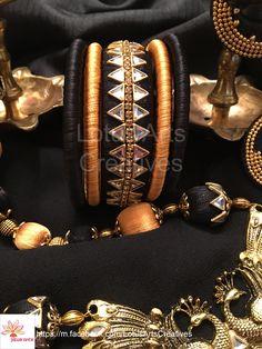 Nails diy black art tutorials 50 Ideas for 2019 Silk Thread Bangles Design, Silk Bangles, Thread Jewellery, Kundan Bangles, Bridal Bangles, Jewellery Diy, Jewelry Crafts, Handmade Jewelry, Gold Silk