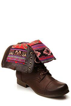 Bota Southwest Bound Fold-Over Inca Combat Boots Marrón