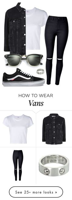 """""""#No name"""" by eemaj on Polyvore featuring RE/DONE, Topshop, Vans, Ray-Ban, Cartier and TeamVans"""