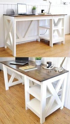 DIY Farmhouse Office Desk for the Home Office DIY Farmhouse Desk plans that will make your home office pop! Need an office farmhouse desk to spice up the home office? These DIY Desk Plans will make your office come to life. Diy Office Desk, Home Office Desks, Home Office Furniture, Diy Desk, Office Ideas, Office Designs, Furniture Ideas, Office Table, Small Office