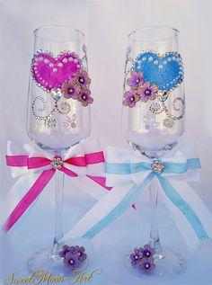 Flautas champagne para brindar,copas boda brindis,set copas champagne rosa y azul,copas diamantes y perlas,novio y novia,rosa y azul, bodas de SweetMoonArt en Etsy