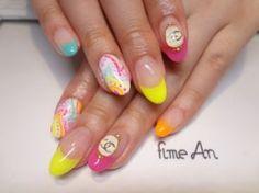 Neon paisley nails