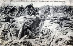 WW1, 1914. Battle of Antwerp, Belgian Army taking a trench.