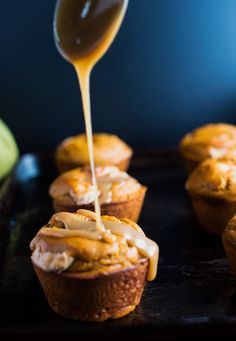 Salted Caramel Pumpkin Muffins - Awesome recipe for pumpkin muffins filled with cream cheese with a spoonful of a salted caramel sauce on top, and the crunchiness of the toasted pecans. This is a perfect breakfast morning treat, before the family arrives and all the Thanksgiving cooking begins. Recipe available by clicking on the photo.
