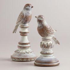 Whitewash Wood Finish Bird Finials, Set of 2   World Market check