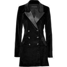 RACHEL ZOE Black Velvet Cameron Tuxedo Coat ($543) ❤ liked on Polyvore featuring outerwear, coats, jackets, tops, velvet coat, long sleeve coat, double-breasted coat, double breasted tuxedo and tux coat