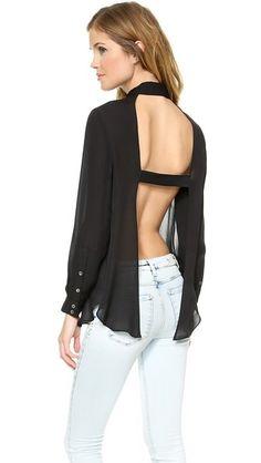 Haute Hippie Рубашка на пуговицах с открытой спиной