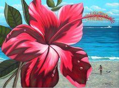 Tropical Flower, Ocean, Beach Original Oil Painting, Signed. $245.99, via Etsy.
