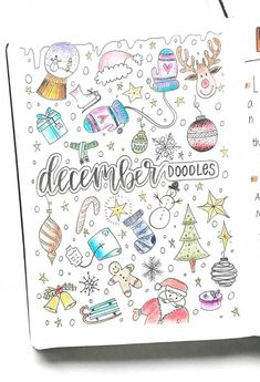 December winter doodles christmas doodles bullet journal doodles by. Bullet Journal Doodles, December Bullet Journal, Bullet Journal Christmas, Bullet Journal Cover Page, Bullet Journal Ideas Pages, Bullet Journal Spread, Bullet Journal Inspo, Bullet Journal Layout, Bullet Journal Packing List