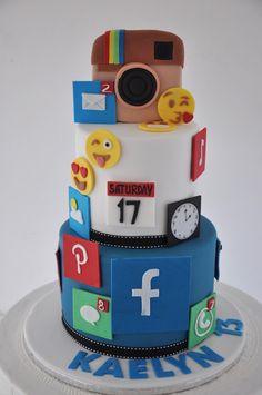 Vanilla Layer Cake Recipe, Layer Cake Recipes, Cake Decorating Amazing, Birthday Cake Decorating, Beautiful Birthday Cakes, Cool Birthday Cakes, Computer Cake, Iphone Cake, Bithday Cake