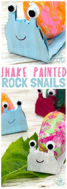 SHAKE PAINTING - CUTE SNAIL ROCK CRAFT- This rock painting idea gets kids active and is virtually mess free! This Snail Craft gets kids shaking out their wiggles and fidgets to make beautifully painted rock snail shells! Grab your rocks, your kids and you Animal Crafts For Kids, Toddler Crafts, Preschool Crafts, Kids Crafts, Creative Arts And Crafts, Arts And Crafts Projects, Easy Crafts, Snail Craft, Diy Upcycling