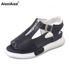Women wedges Sandals Open Toe Shoes T Strap With Zipper Metal Buckle Shoes Women Preppy Chic Platform Lady Footwear Size 35-40
