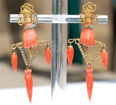 Victorian hand earrings, carved coral & gold metal with turquoise (? Coral Earrings, Coral Jewelry, Ethnic Jewelry, Edwardian Jewelry, Antique Jewelry, Vintage Jewelry, Hand Jewelry, Jewelry Art, Jewelry Accessories