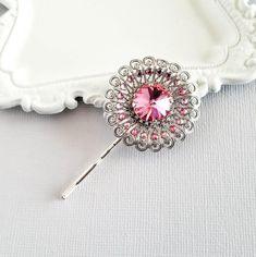 USA Vintage Bobby Pin Hairpin Rhinestone Crystal Jeweled Elegant Unique RED