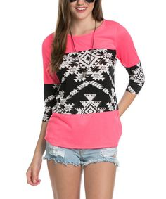 Love this Lady Monkey Pink & Black Geometric Color Block Tunic by Lady Monkey on #zulily! #zulilyfinds