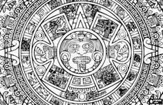 Central fragment of the Aztec calendar, the representation of the sun coloring page