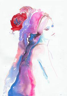 Print of Original Watercolor Fashion Illustration. Titled: Freja - Dansk Magazine