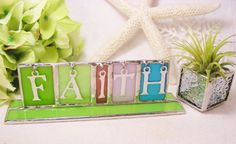 Colorful Rainbow Stained Glass Faith Sign by MoreThanColors, $30.00