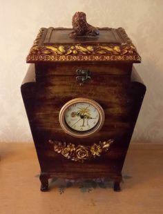 Vintage clock storage box Victorian Vintage by MerryLegsandTiptoes