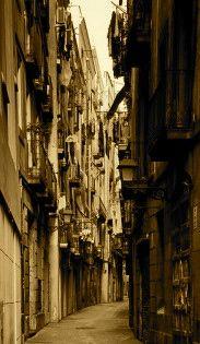 """""""... All'altezza di calle Arco del Teatro svoltammo in direzione del Raval, passando sotto l'arcata avvolta nella foschia, e percorremmo quella stradina simile a una cicatrice, allontanandoci dalle luci delle ramblas mentre il chiarore dell'alba cominciava a disegnare i contorni dei balconi e dei cornicioni delle case..."""" Carlos Ruiz Zafon, """"L'ombra del vento"""", Barcellona"""
