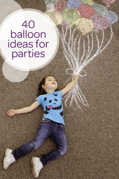 What kid doesn't love a bright and colorful balloon? Send your toddler sky high with this collection of 40 fun and creative balloon ideas that are perfect for any kid's birthday party. Use sidewalk chalk to create this adorable photo opportunity that your little one and her friends will love. You can even design an entire balloon-themed birthday party with balloon cupcakes made out of suckers and tons of DIY party decorations.
