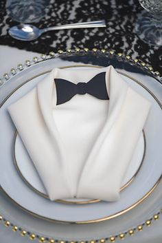 Clever idea to fold the cloth napkin into a tuxedo for this Great Gatsby wedding!  Full gallery at: https://www.friartux.com/index.php?route=blog/blog/post&id=3770#.U_0Tx8VdUSY