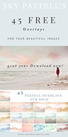 Free Overlay Set Sky Pastells - Use it to give you. Free Overlay Set Sky Pastells – Use it to give your images a touch of magic – I hope I will see a lot of beautiful images done with this 45 Overlays Photoshop Logo, Photoshop Overlays, Free Photoshop, Photoshop Brushes, Photoshop Elements, Photoshop Actions, Diy Photo, Photoshop Photography, Photography Tutorials