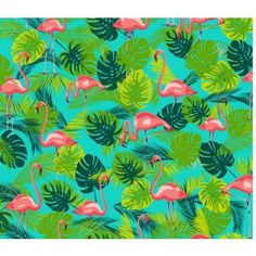 Like!! Tropical pink flamingo print with palm leaves. Design: Kitsch Kitchen.