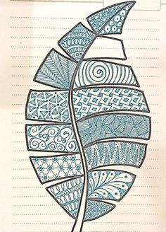 Inspired by luann kessi embroidery doodle art, zentangle patterns, leaf art. Doodle Art Drawing, Zentangle Drawings, Mandala Drawing, Zentangle Patterns, Art Drawings Sketches, Doodle Patterns, Doodling Art, Leaf Patterns, Art Patterns