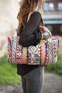 Boho ikat pattern bag
