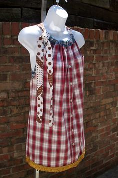 OOAK Repurposed Upcycled Shirt Halter Dress Red by DIXIETEXTILES.   Seriously, this looks like nothing more than a pillowcase dress you make for little girls. The exact same pattern only bigger! I could make this in my sleep, would just need a shirt that was long enough.