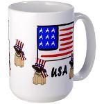 Patriotic USA Pug Dogs Large Mug