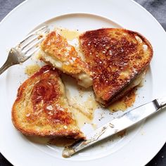 Learn to make these simple knife-and-fork grilled cheese sandwiches with honey at Food & Wine.
