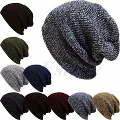 Women Girls Knit Slouchy Baggy Beanie Oversize Winter Hat Ski Fleece Slouchy Cap