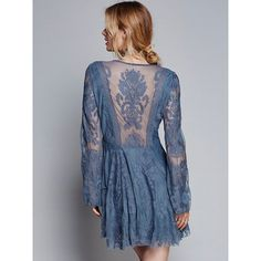Reign Over Me Lace Dress ($100) ❤ liked on Polyvore featuring dresses, lace dress, lace cocktail dress, blue cocktail dresses, blue dress and free people dresses